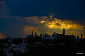nyc skyline during storm