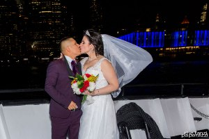 NYC Skyline and bride and groom