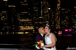 NYC Skyline and bride and groom
