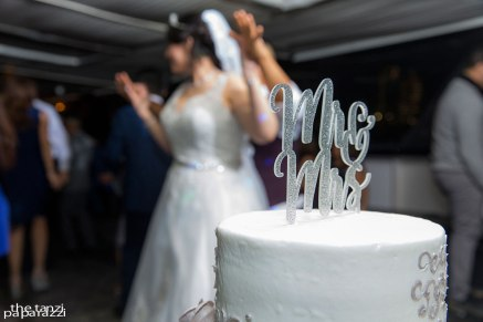 Dancing behind wedding cake topper