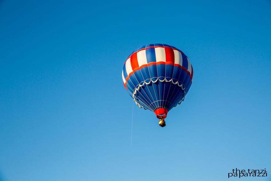 blue, red, and white balloon flying